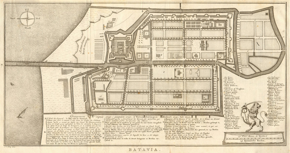 Associate Product 'Batavia avec tous ses changemens…'. Jakarta, Indonesia. BELLIN/SCHLEY 1753 map