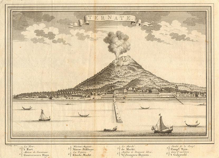 Associate Product Ternate town & Gamalama volcano, Molucca Maluku islands. Indonesia. SCHLEY 1755