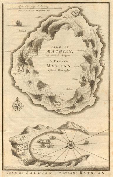 Associate Product 'Isles de Machian & de Bachian'. Makian & Bacan, Maluku. BELLIN/SCHLEY 1755 map