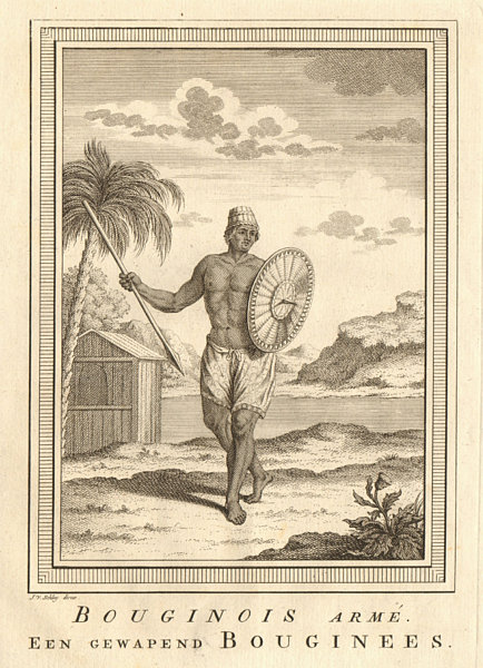 Associate Product 'Bouginois armé'. Armed Buginese man, Boni, South Sulawesi Celebes. SCHLEY 1755