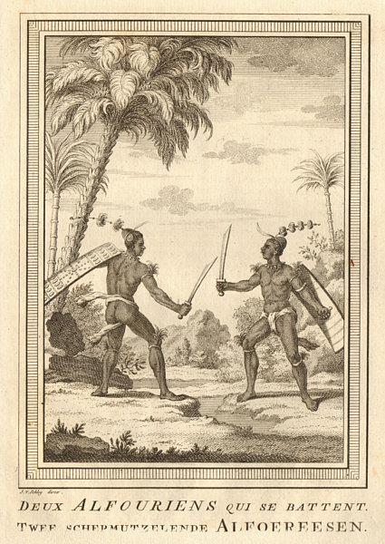 Associate Product 'Deux Alfouriens qui se battent'. Nuaulu fighting. Seram, Maluku. SCHLEY 1755