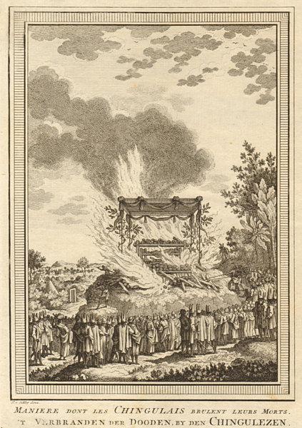 Associate Product 'Les Chingulais brûlent leurs morts'. Sri Lanka Ceylon. Cremation. SCHLEY 1755