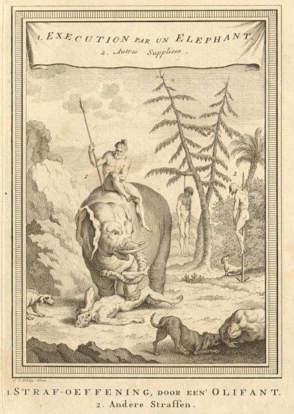 Associate Product Sri Lanka Ceylon. Execution by elephant. Impaling. Hanging. SCHLEY 1755 print