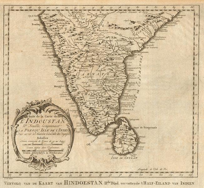 Suite de la carte de l'Indoustan 2nd sheet Southern India BELLIN/SCHLEY 1755 map