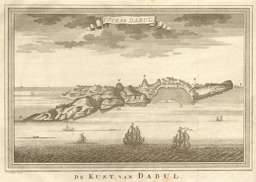Associate Product 'Côte de Dabul'. India. Coast of Dabhol. BELLIN / SCHLEY 1755 old antique map