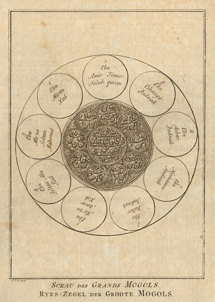 'Sceau des Grands Mogols'. India. Seal of the Mughal Emperors. SCHLEY 1755