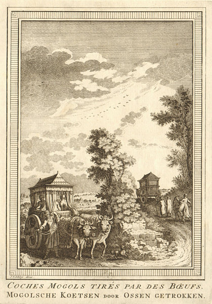 Associate Product 'Coches Mogols tirés par des boeufs'. Mughal coach & cattle. India SCHLEY 1755
