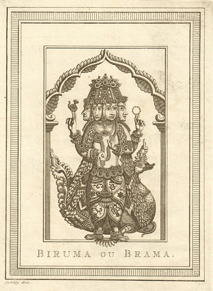 Associate Product 'Biruma, ou Brama'. India. Brahma. Hindu Creator deity god. SCHLEY 1755 print