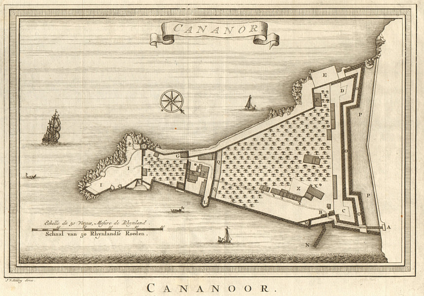 Associate Product 'Cananor'. India. Kannur town city plan, Kerala. BELLIN / SCHLEY 1755 old map