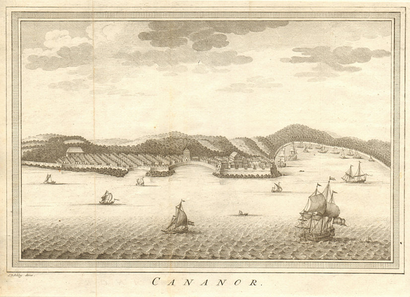 Associate Product 'Cananor'. View of Kannur from the sea, Kerala, India. SCHLEY 1755 old print