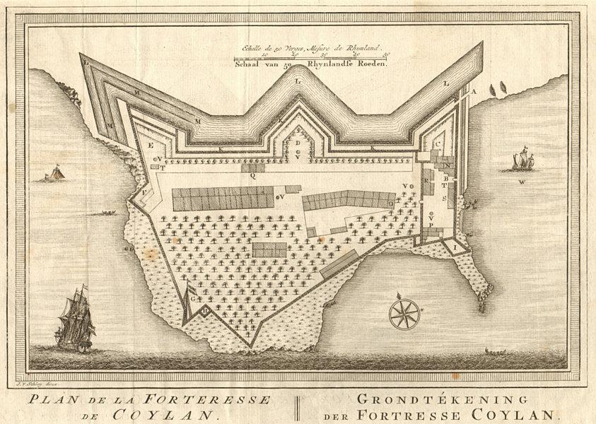Associate Product 'Plan de la Forteresse de Coylan'. Kollam, Kerala. BELLIN/SCHLEY 1755 old map