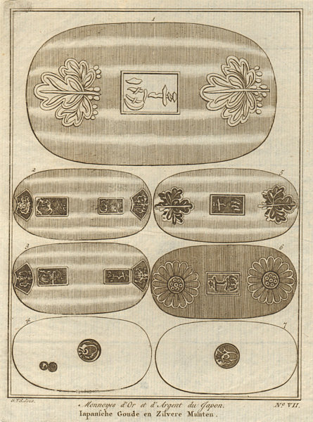 Associate Product Japanese gold and silver coins. SCHLEY 1755 antique vintage print picture