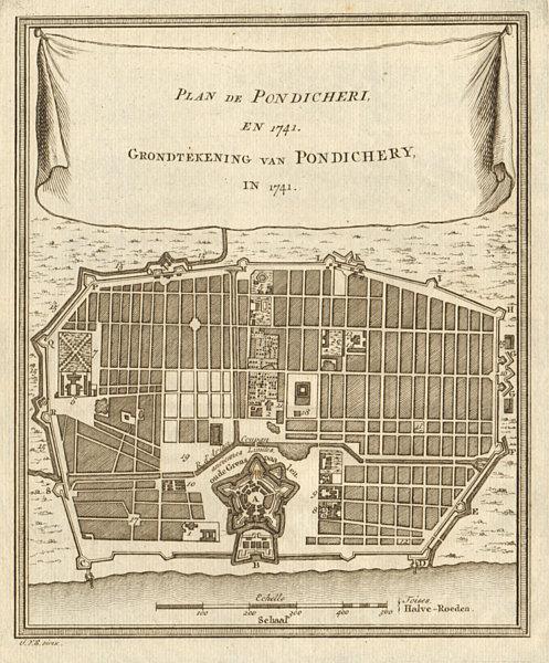 Associate Product 'Plan de Pondichery, en 1741'. Pondicherry Puducherry. BELLIN/SCHLEY 1756 map