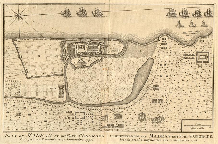 Associate Product 'Plan de Madraz et du Fort St. Georges'. Madras Chennai. BELLIN/SCHLEY 1756 map