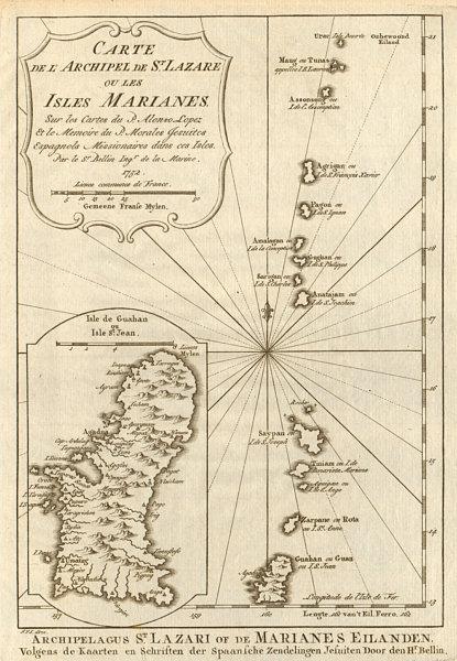 Associate Product 'Archipel de St. Lazare ou… Marianes'. Guam Saipan. BELLIN/SCHLEY 1756 old map
