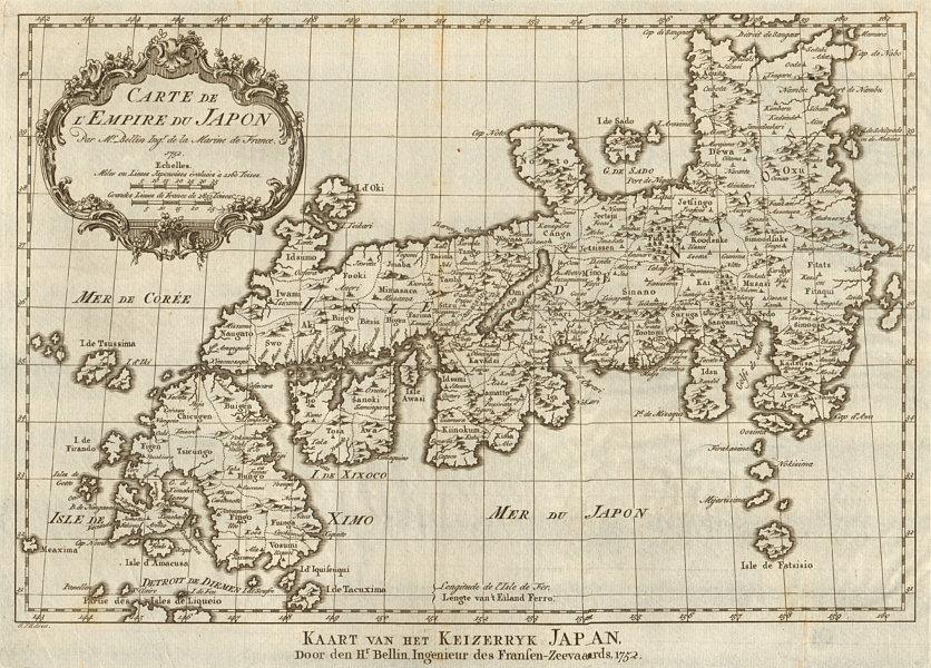 Associate Product 'Carte de l'Empire du Japon'. Empire of Japan. BELLIN / SCHLEY 1756 old map