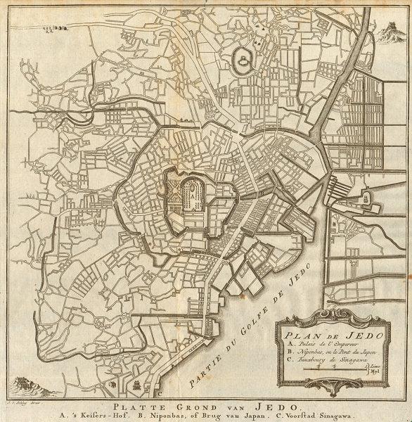 Associate Product 'Plan de Jedo'. Tokyo town city plan. Japan. BELLIN/SCHLEY 1756 old map