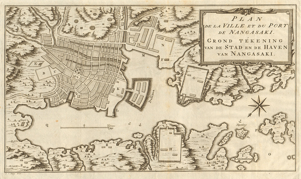Associate Product 'Plan de la Ville… de Nangasaki'. Nagasaki, Japan. BELLIN/SCHLEY 1756 old map