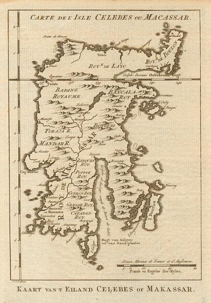 'Carte de I'Isle Celebes ou Macassar'. Sulawesi. BELLIN/SCHLEY 1757 old map