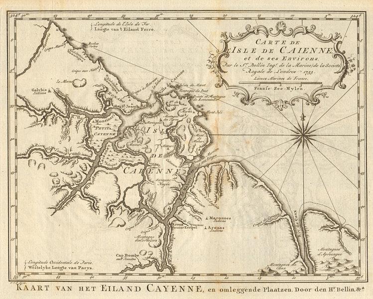 Associate Product 'Carte de I'Isle de Caienne'. Cayenne, French Guiana. BELLIN/SCHLEY 1757 map