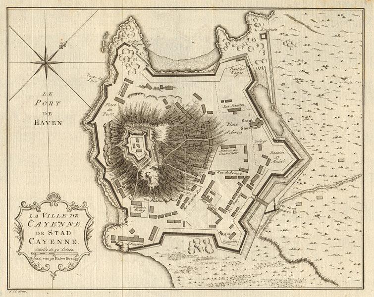Associate Product 'La ville de Cayenne'. French Guiana. Town city plan. BELLIN / SCHLEY 1757 map