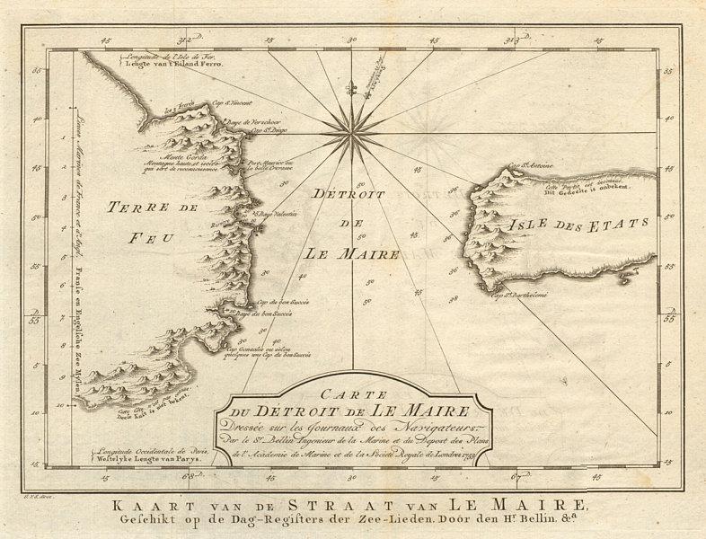 Associate Product 'Carte du Détroit de le Maire' Strait. Tierra del Fuego. BELLIN/SCHLEY 1757 map