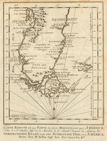Associate Product 'La Partie la plus Méridionale de l'Amérique'. Patagonia. BELLIN/SCHLEY 1757 map