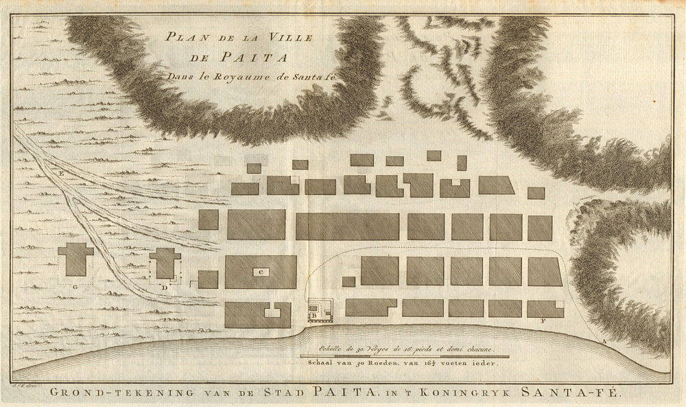 Associate Product 'Plan de la ville de Paita… Royaume de Santa-Fé'. Peru. BELLIN/SCHLEY 1757 map