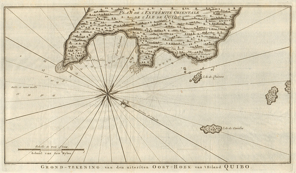 Associate Product 'Plan de… l'lle de Quibo'. Cioba Island, Panama. BELLIN/SCHLEY 1757 old map