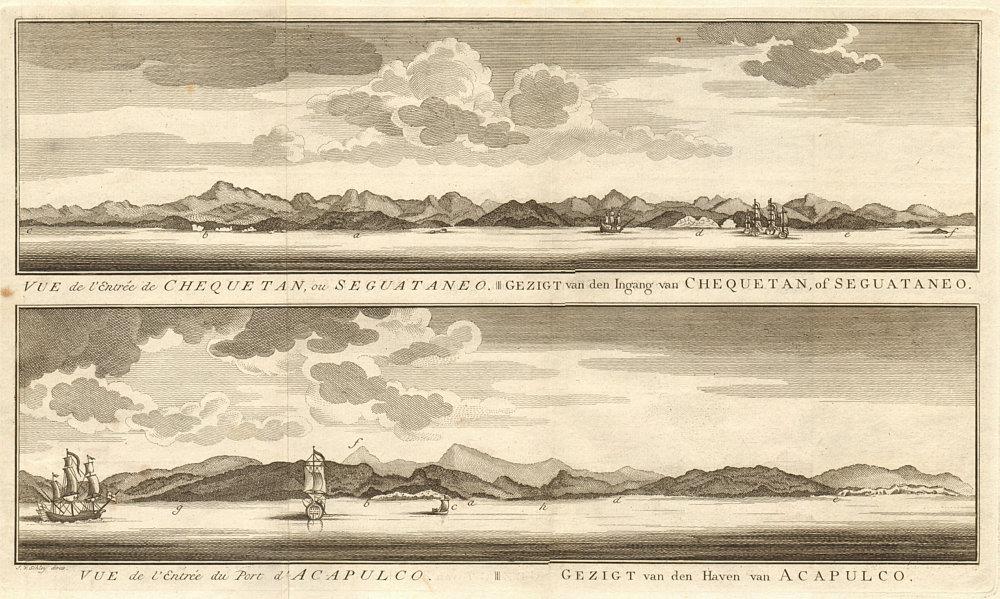 Associate Product Coast profiles. Zihuatanejo Bay. Acapulco Bay. Guerrero Mexico. SCHLEY 1757