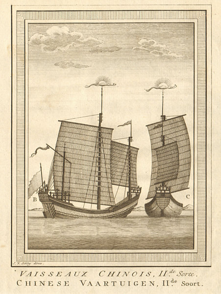 Associate Product 'Vaisseaux Chinois, II.de Sorte'. China. Chinese junks boats ships. SCHLEY 1757