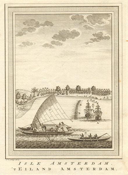Associate Product 'Isle Amsterdam'. Abel Tasman at Tongatapu, Tonga 1643. Pirogues. SCHLEY 1758