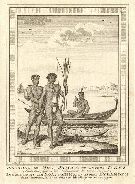 Associate Product 'Habitans de Moa, Jamna'. New Guinea. Pirogue boat. West Papua. SCHLEY 1758