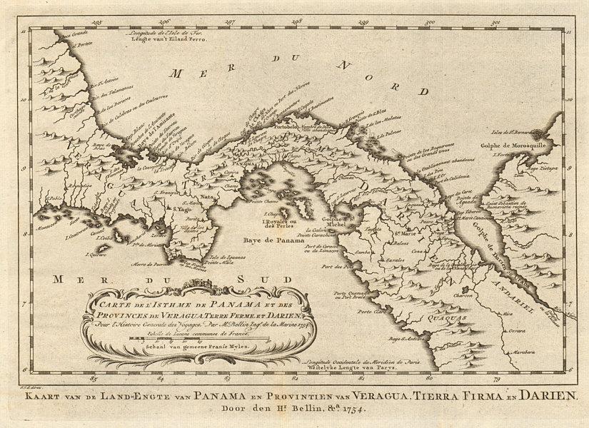Details about 'Carte de l'Isthme de Panama & des Provinces de Veragua…'  BELLIN/SCHLEY 1758 map