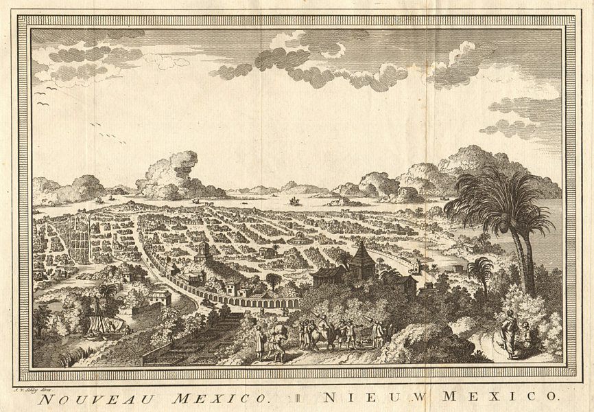 Associate Product 'Nouveau Mexico'. Mexico City as it was in the 18th century. SCHLEY 1758 print