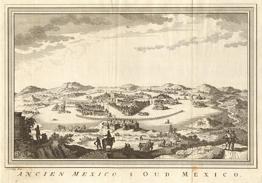 Associate Product 'Ancien Mexico'. Old colonial Mexico City & Lake Texcoco. SCHLEY 1758 print
