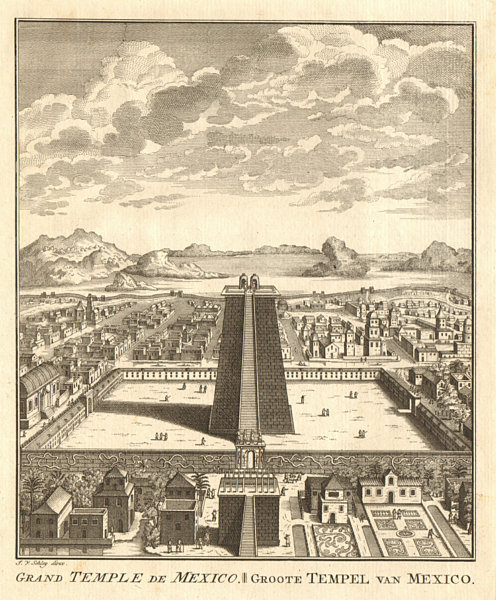 Associate Product Great Temple or Templo Mayor, Tenochtitlan-Mexico City. SCHLEY 1758 old print