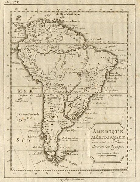 Associate Product 'Amerique Méridionale'. South America. BELLIN/SCHLEY 1772 old antique map