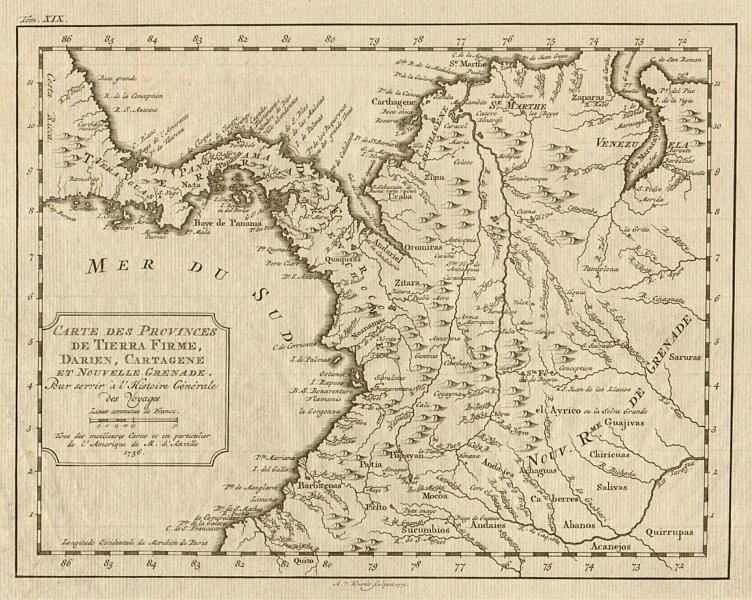 Associate Product 'Tierra-Firme, Darien, Cartagene…' Panama Colombia. BELLIN/SCHLEY 1772 old map