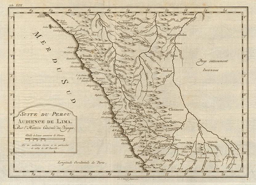 'Suite du Perou. Audience de Lima'. Peru. BELLIN/SCHLEY 1772 old antique map