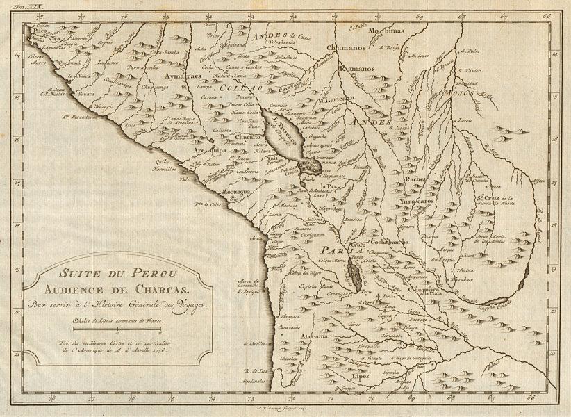 Associate Product 'Suite du Perou. Audience de Charcas'. Bolivia Peru.  BELLIN/SCHLEY 1772 map