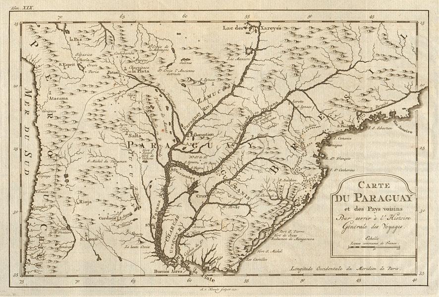 Associate Product 'Carte du Paraguay et des Pays voisins'. Uruguay Brazil. BELLIN/SCHLEY 1772 map