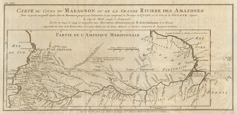 Associate Product 'Cours du Maragnon ou de la Grande Riviere des Amazones'. BELLIN/SCHLEY 1772 map