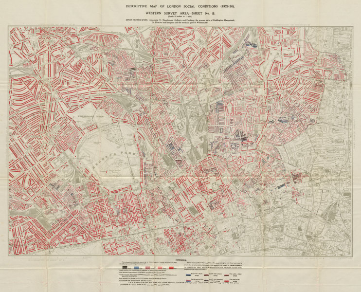 Associate Product BOOTH / LSE POVERTY MAP West End Camden Marylebone S Hampstead Islington 1930