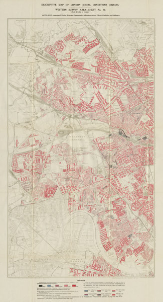 Associate Product BOOTH /LSE POVERTY MAP Willesden Acton Hammersmith Fulham Brent W Hampstead 1930