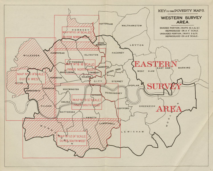 Associate Product Key to Poverty Maps. Western Survey Area. London. Charles Booth / LSE 1930