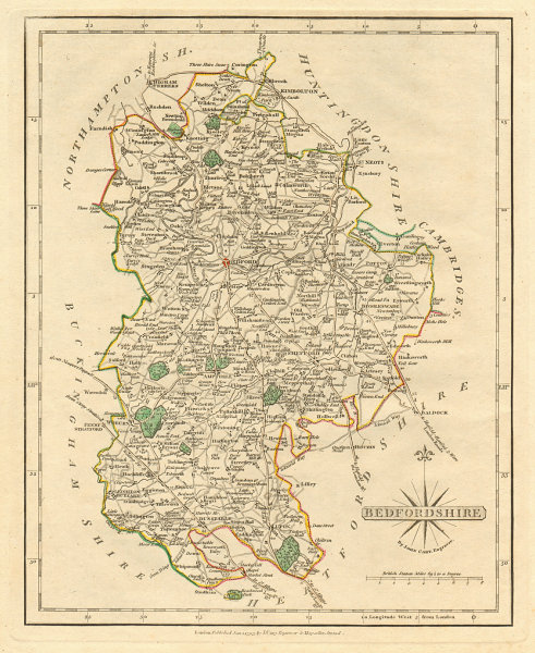 Associate Product Antique county map of BEDFORDSHIRE by JOHN CARY. Original outline colour 1793