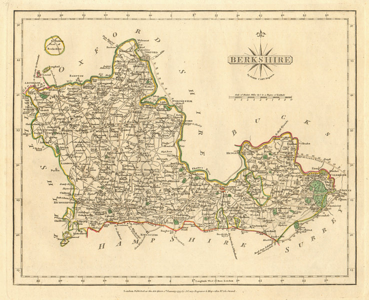 Associate Product Antique county map of BERKSHIRE by JOHN CARY. Original outline colour 1793