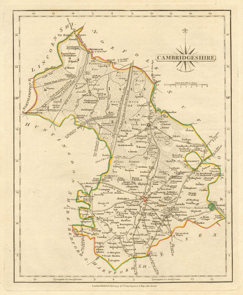 Associate Product Antique county map of CAMBRIDGESHIRE by JOHN CARY. Original outline colour 1793