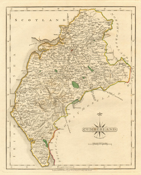 Associate Product Antique county map of CUMBERLAND by JOHN CARY. Original outline colour 1793